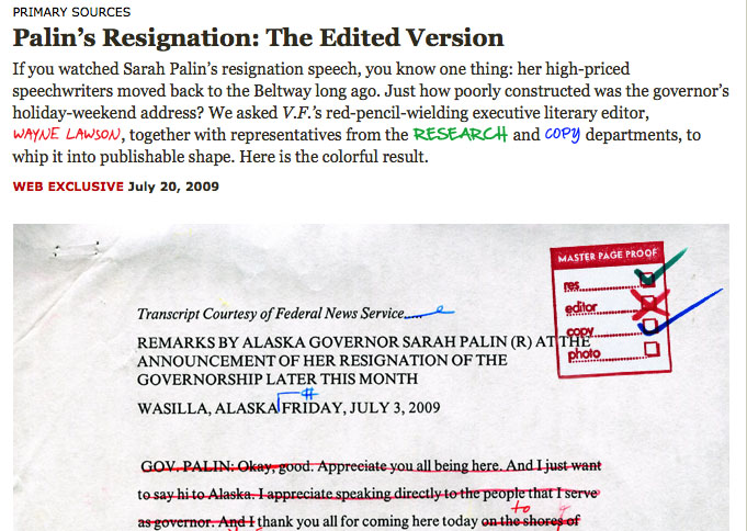 Palin's Resignation: The Edited Version